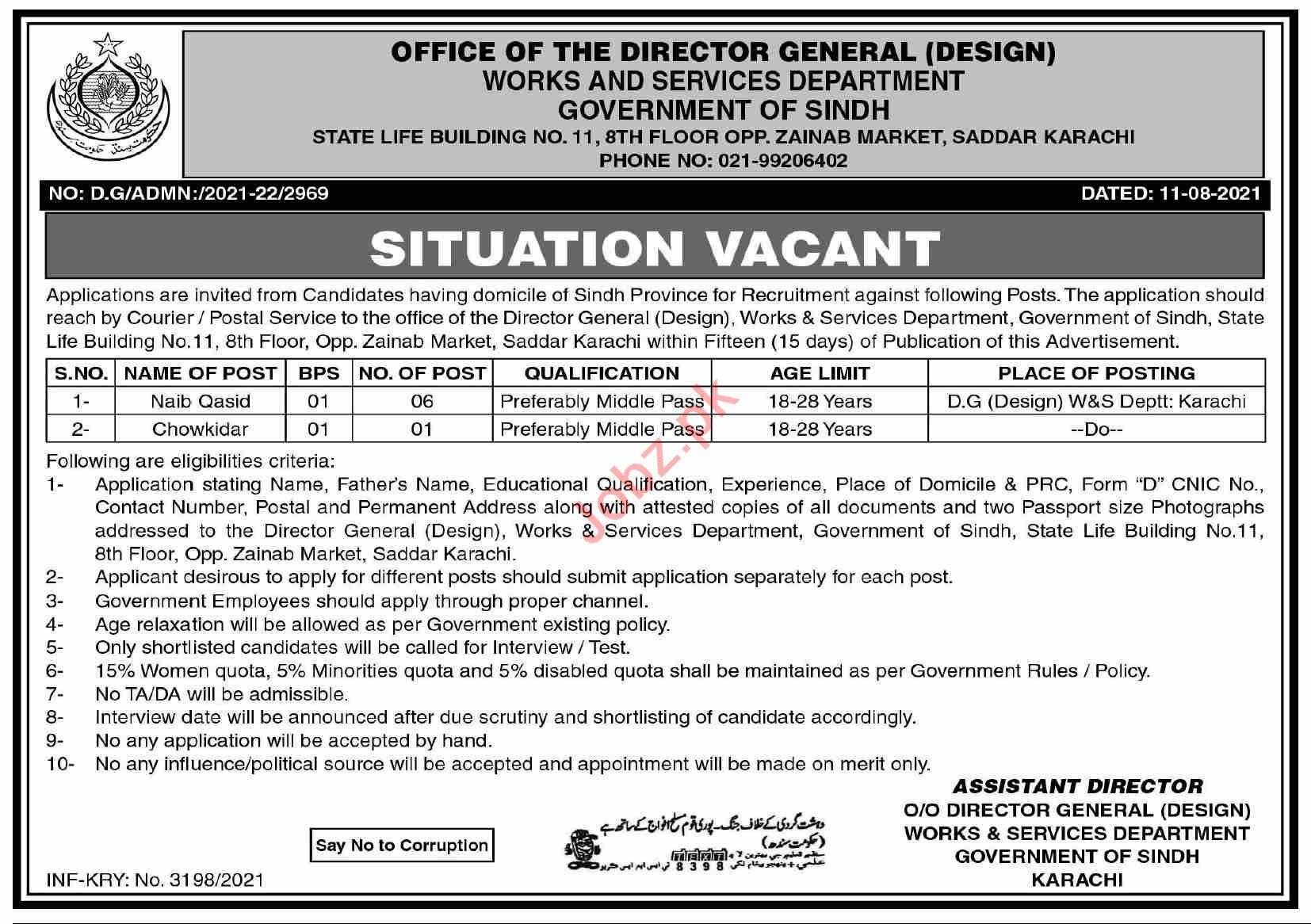 Works & Services Department Karachi Jobs 2021