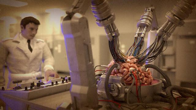 a machine operates on a brain