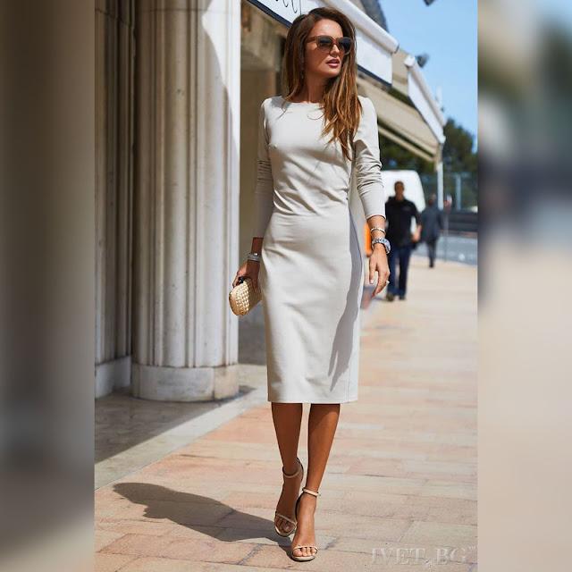 Μακρυμάνικο μεσάτο μίντι φόρεμα TAMMI ECRU