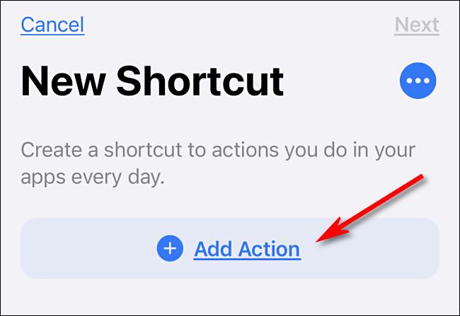"""اضغط على """"إضافة إجراء"""" في الاختصارات على iPhone."""