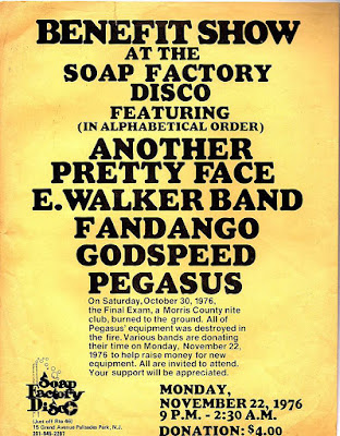 The Soap Factory Benefit show Nov 22, 1976 for The Final Exam rock club which burned down featuring Another Pretty Face, The E. Walker Band, Fandango, Godspeed and Pegasus