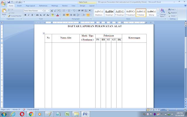 Format daftar laporan perawatan alat laboratorium biologi