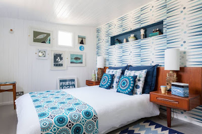 Blue color tone for bright bedroom decor ideas with wallpaper cushions duvet and rugs
