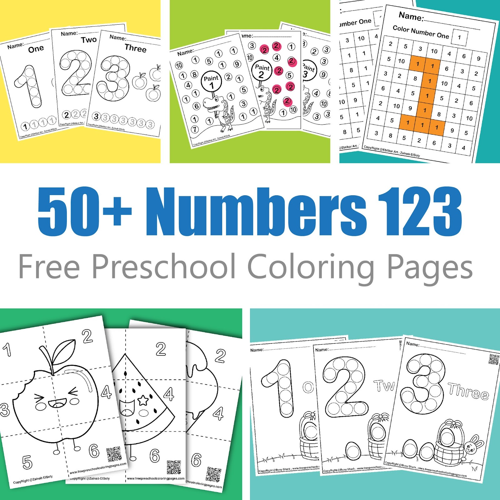 50 Free Numbers Preschool Coloring Pages