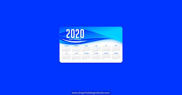 Plantilla de calendario 2020 abstracta con ondas azules