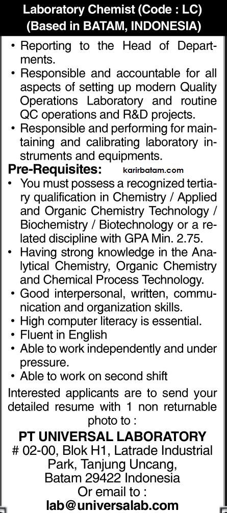 Lowongan Kerja PT. Universal Laboratory