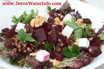 Detox diet salad lentil