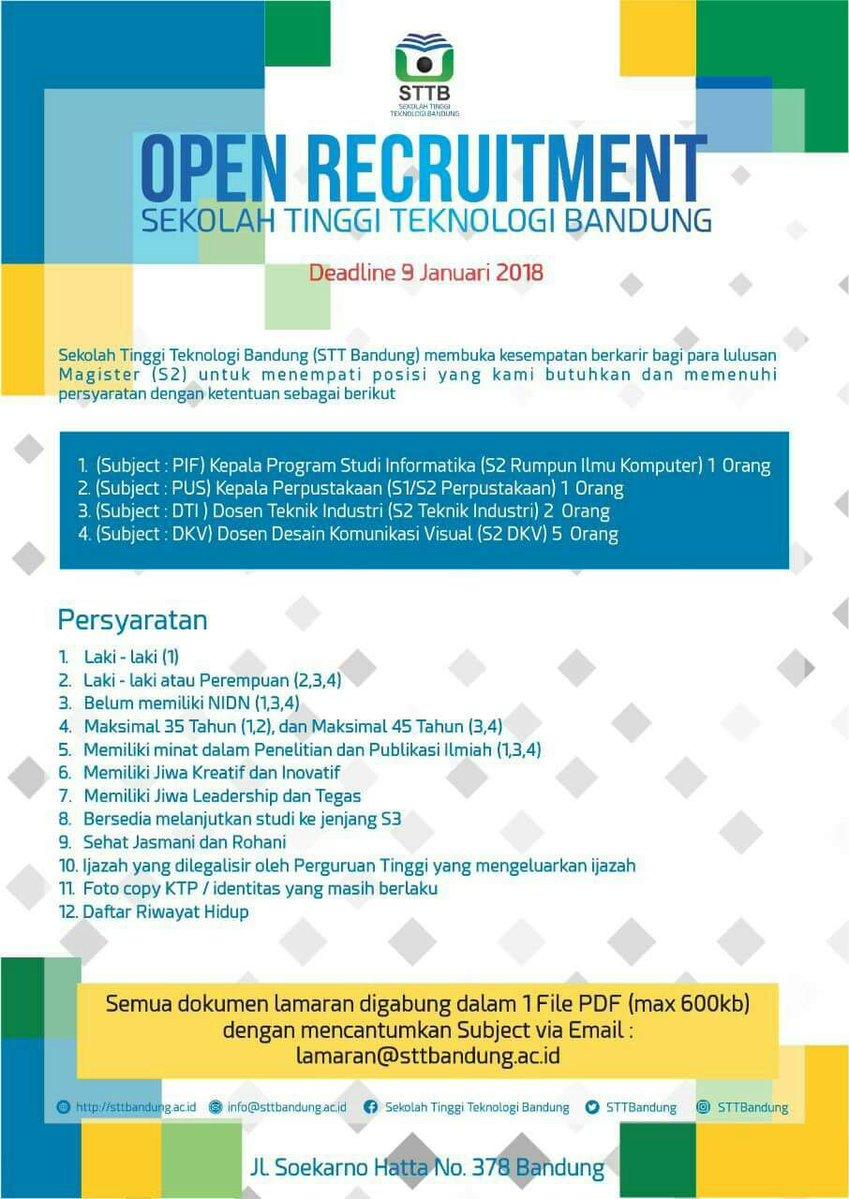 Lowongan Dosen Sekolah Tinggi Teknologi Bandung (STT Bandung) DKV, Teknologi Industri