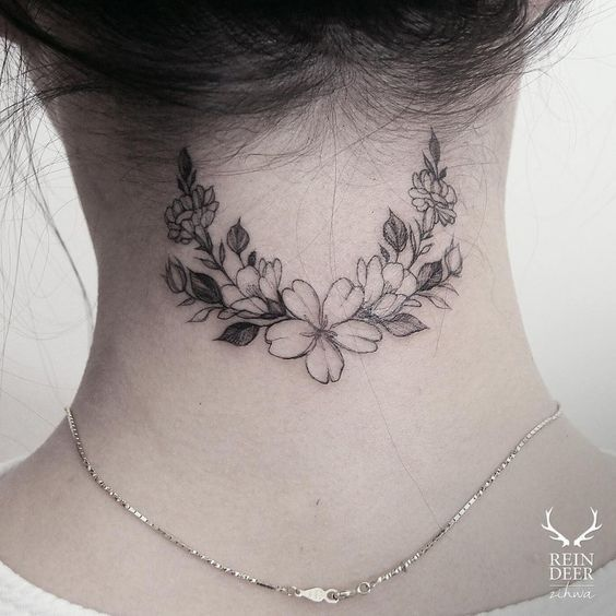 Small Dainty Minimalist Tattoo Ideas Inspo back of neck halo crescent bouquet
