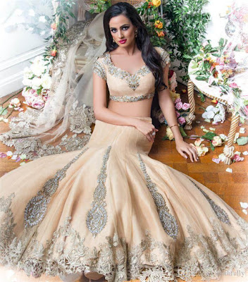 Luxury Two Piece Style Indian Arabian Wedding Gown.