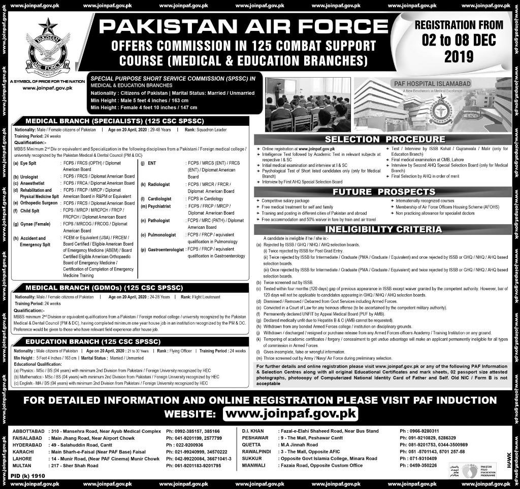 Join Pakistan Air Force PAF Jobs 2019