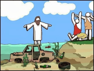Jesus walking on water by the lake of Galilee in Israel cartoon