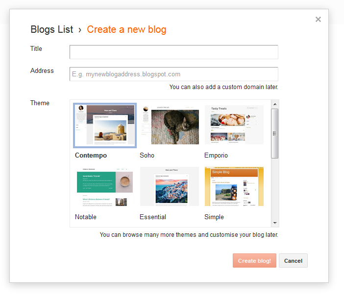 Create a new blog box to accept blog title, address and theme as per you want.