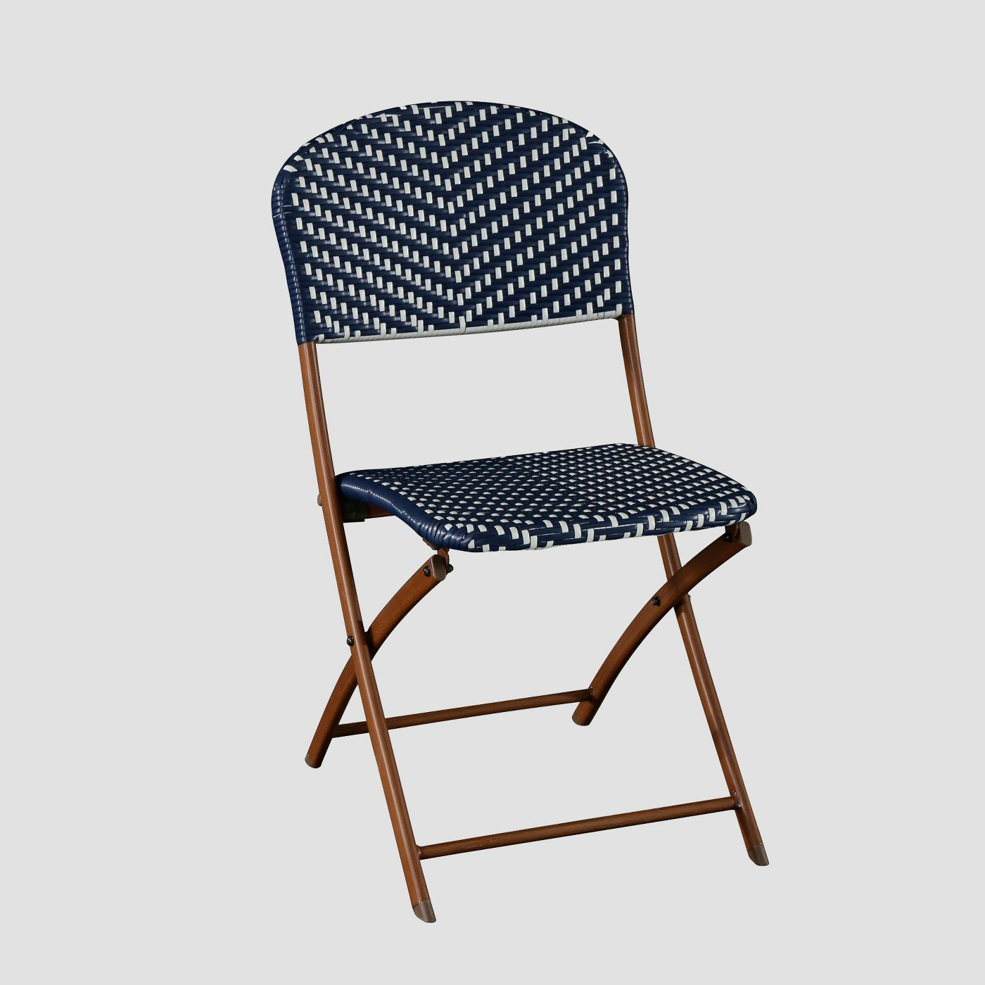 Blue and white folding outdoor chairs