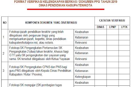Format Verifikasi Kelengkapan Berkas/ Dokumen PPG Tahun 2019