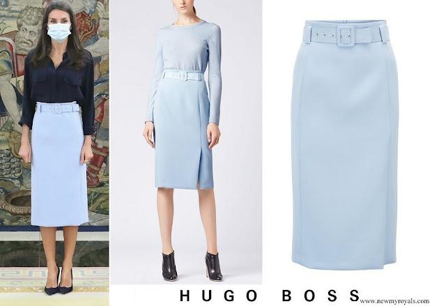 Queen Letizia wore Hugo Boss High Waisted Pencil Skirt