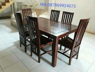 meja makan minimalis kayu jati 6 kursi mewah elegan