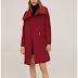 Palton dama scurt casual visiniu din amestec de lana cu revere late Mango