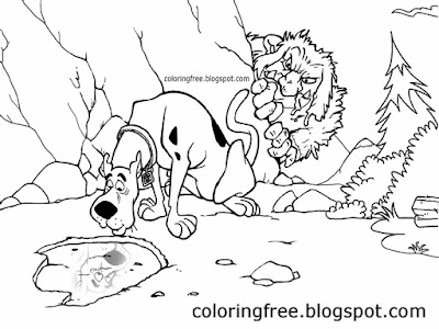 Big hairy legendary beast Bigfoot woodland monster coloring Scooby Doo drawing sketch haunted hills