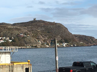 Looking toward Signal Hill, again a lovely view of Cabot Tower. In the foreground there's quite a bit of water, showing just how close Harbourside Park is to the actual harbour itself.