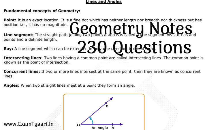 Geometry Notes PDF with 230 Lines & Angles Questions [PDF] • Exam Tyaari