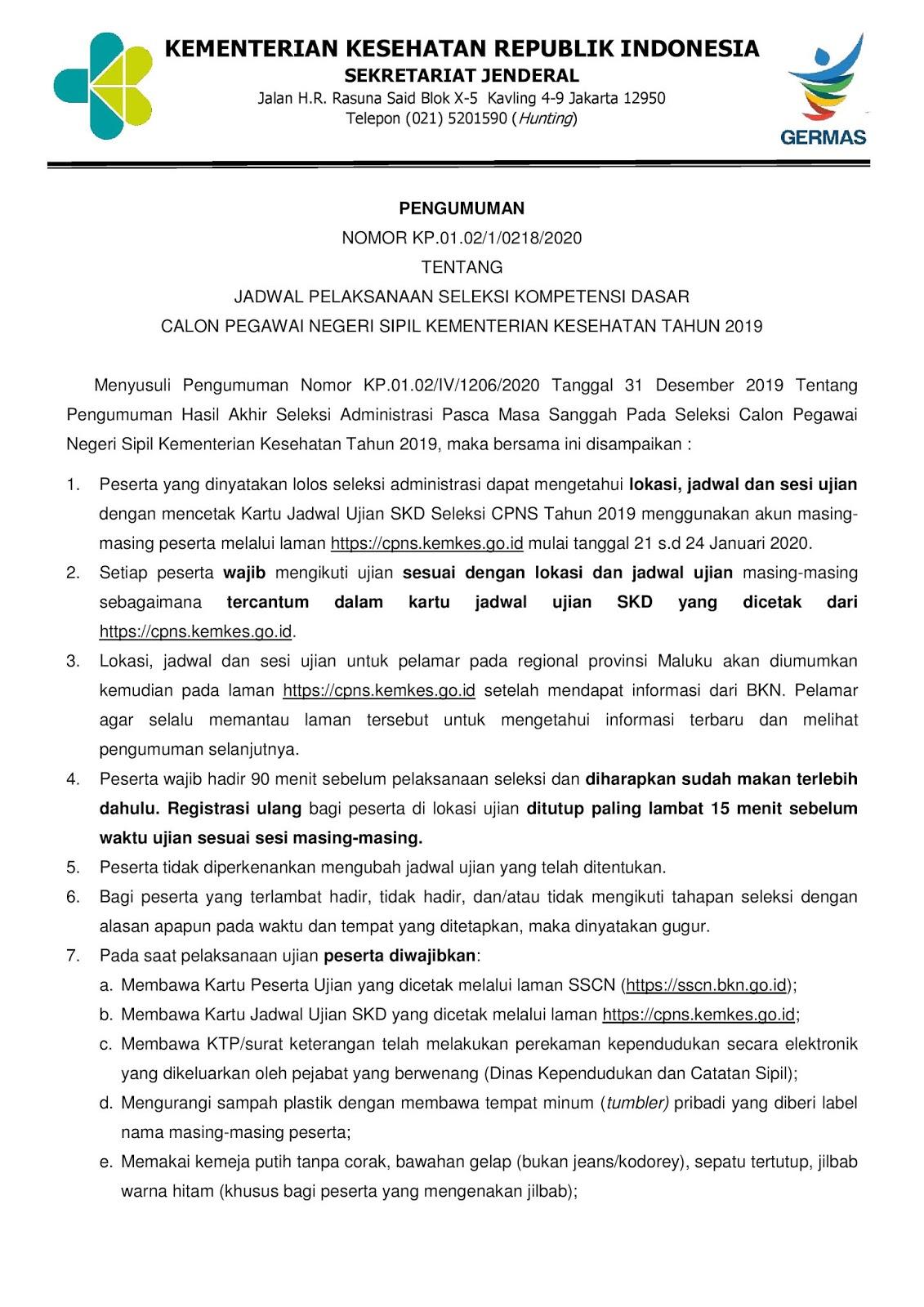 Catat, Inilah Jadwal dan Lokasi Tes SKD CPNS Kementerian Kesehatan