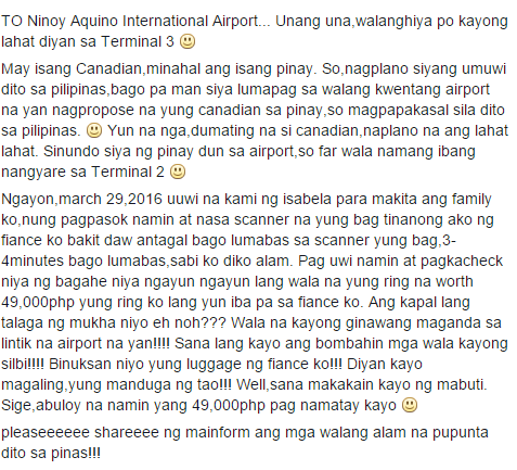 Woman Claims That Her Engagement Ring Was Stolen By The Officials Of NAIA! Read This!