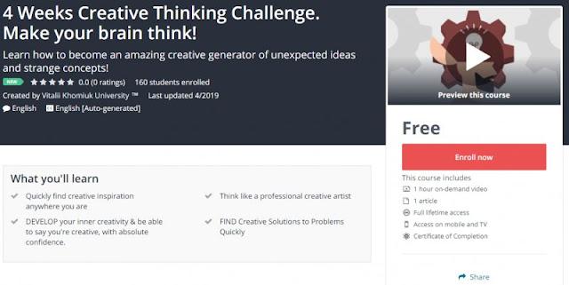 [100% Free] 4 Weeks Creative Thinking Challenge. Make your brain think!