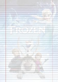 Folha Papel Pautado Filme Frozen PDF para imprimir na folha A4