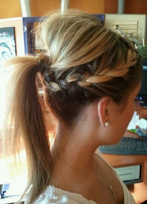 New Short Hair Styles Two Side Braids With A Ponytail Tutorial