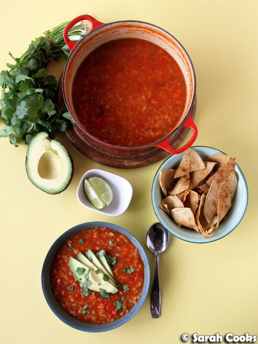 Mexican Lentil Soup with Chipotle Tortilla Chips