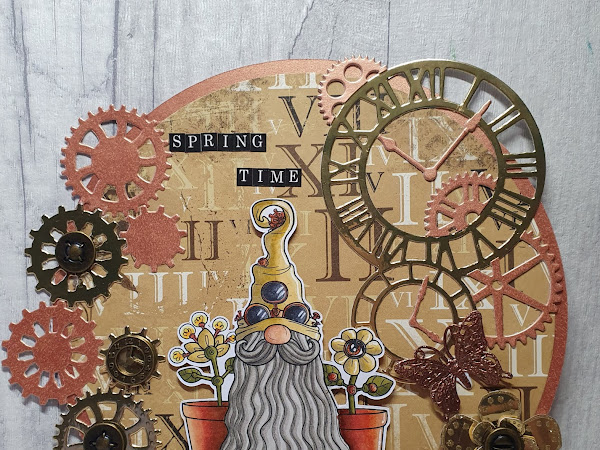 Circle Shaped Card Featuring The Steampunk Spring Tomte Gnome