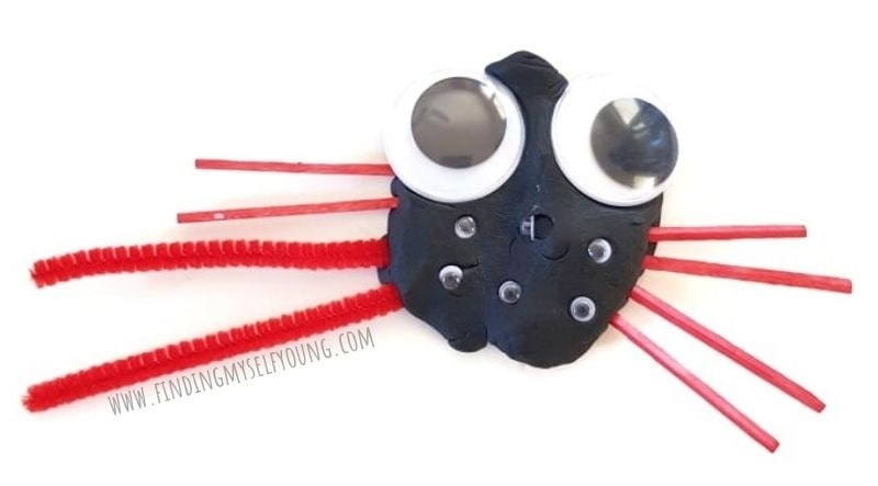 playdough spider with red legs