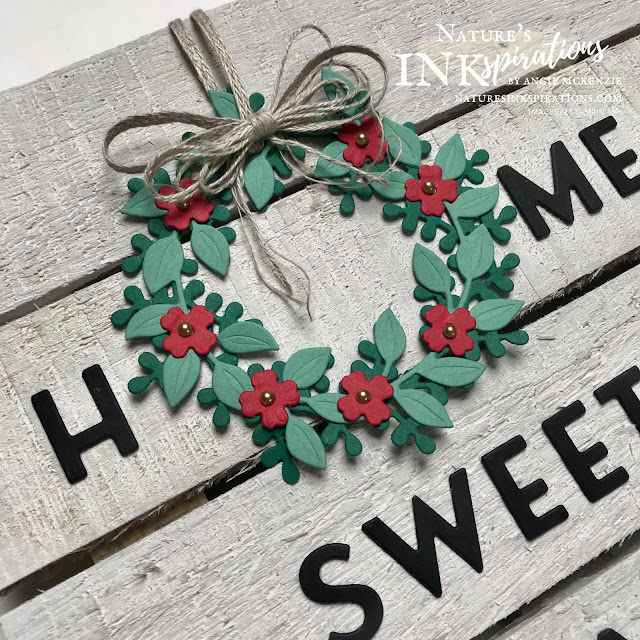 By Angie McKenzie for Stampin' Dreams Blog Hop; Click READ or VISIT to go to my blog for details! Featuring the Wreath Builder Dies and Playful Alphabet Dies by Stampin' Up!; #homesweethomewreathframe #diecutting #homedecor #stampinup #wreathbuilderdies #playfulalphabetdies #whitewashedframe #simplefarmdecor #diycrafts #seasonalwreaths #fancylinenbow #stampindreamsbloghop #naturesinkspirations