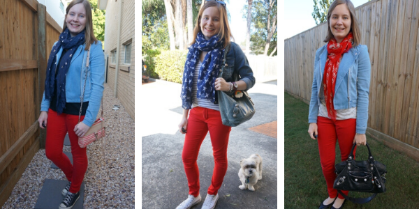 3 ways to wear denim jackets and red skinny jeans | away from blue blog