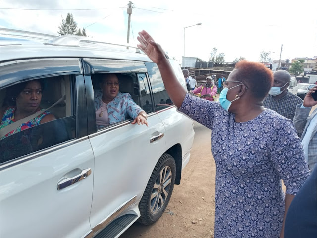 Kandara MP Alice Wahome leading visitors to the church