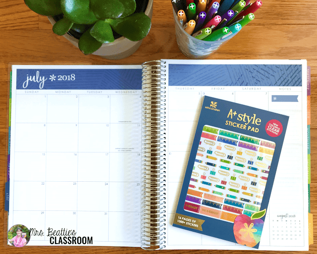 Photo of Erin Condren Teacher Planner month calendar and stickers