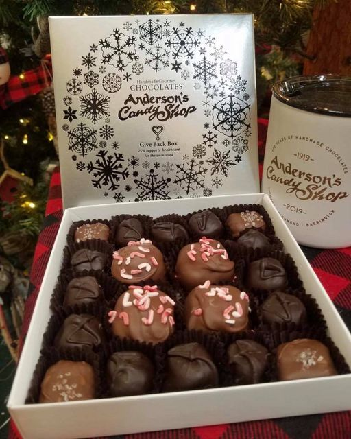 Candy Cane Marshmallows in Anderson's Give Back Box where a portion of each sale goes to Family Health Partnership Clinic. Image via Anderson's Candy Shop.