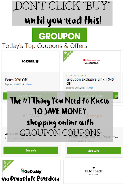 Definitely using this tip next time I shop online!  The #1 Thing You Need to Know to Save Money Shopping Online with Groupon Coupons - Reviewing groupon's new free coupon site, and what makes it different from any other coupon code collection site out there... frugal souls everywhere, rejoice in the chance to save money shopping online!  Free shipping, discounts, secret sales - via Devastate Boredom
