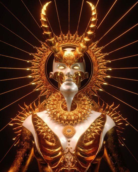 Billelis modelos 3d arte ilustrações macabras esqueletos fantasia religião sombrio hiper-realista