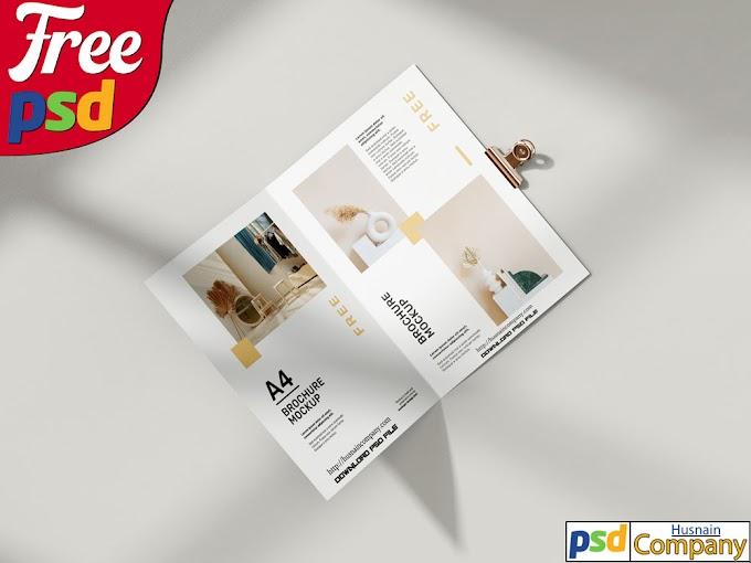 Download Free Folded A4 Brochure PSD Mockup #1