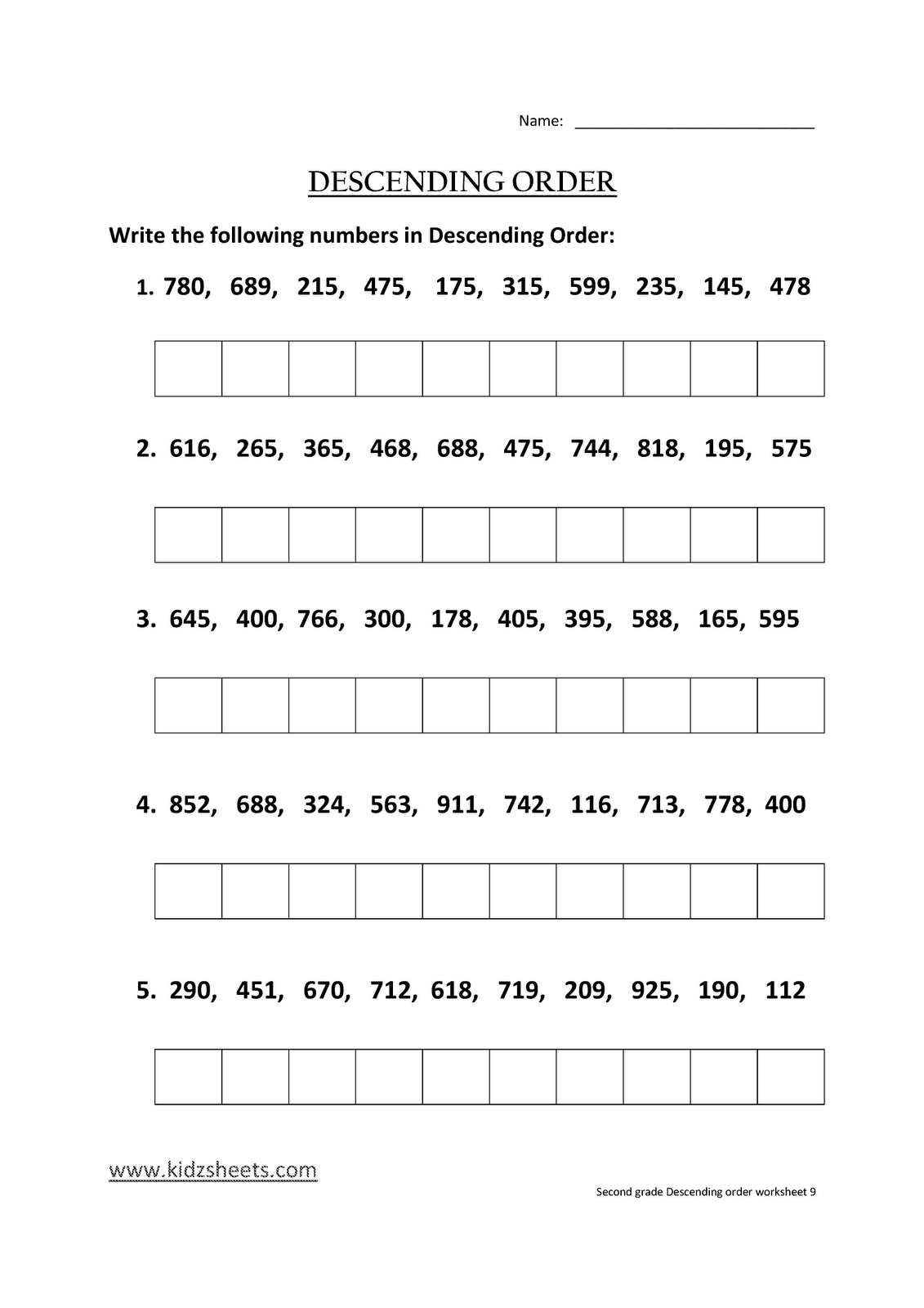 Kidz Worksheets Second Grade Descending Order Worksheet9