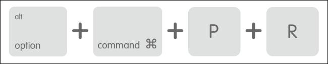 اختصار لوحة المفاتيح لنظام التشغيل MacOS لإعادة ضبط NVRAM / PRAM