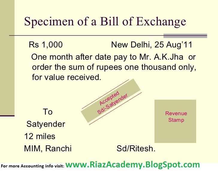 Accounting For Bills of Exchange - Riaz Academy