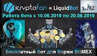 LiquidBot - работа бесплатного бота для биржи BitMex с 10.06.2019 по 20.06.2019 года