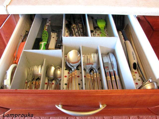 φτιάξε μόνος σου έναν οργανωτή για τα συρτάρια της κουζίνας σου
