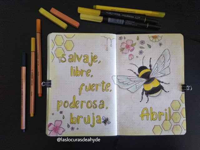Bullet Journal portada Abril 2020 tematica abejorro en colores amarillos