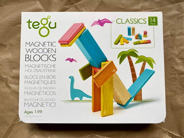The front of the box of Tegu magnetic wooden blocks 14 piece starter kit