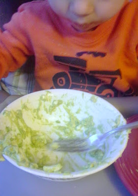 Little dude eating avocado egg salad out of bowl
