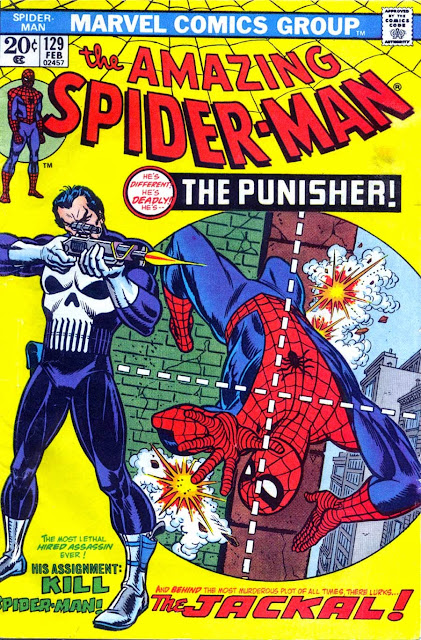 Amazing Spider-man v1 #129, 1974 Marvel bronze age comic book cover - 1st Punisher